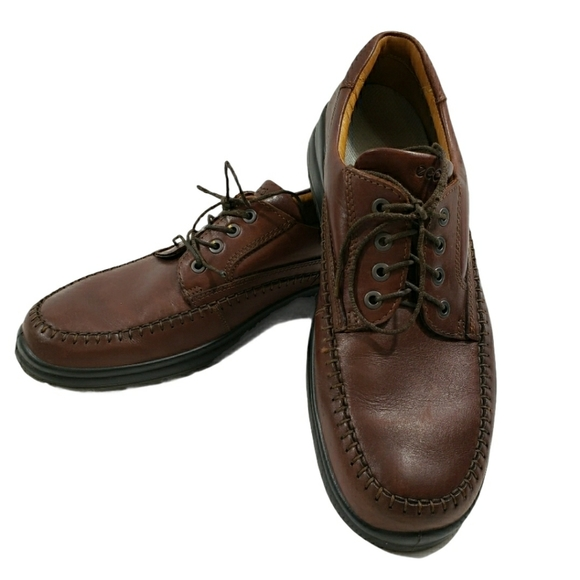 ECCO LACE UP OXFORD SHOES  LEATHER SIZE 45 BROWN